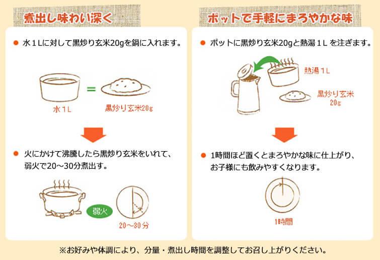 黒炒り玄米のおいしい作り方:1煮出して味わい深く、2ポットで手軽にまろやかな味